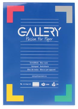 Gallery bloc de papier à lettres, ft A4, 100 feuilles, ligné
