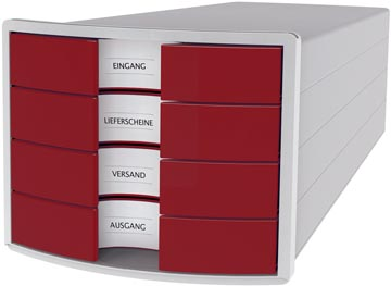 Han bloc à tiroirs Impuls, tiroirs fermés, gris clair/ rouge
