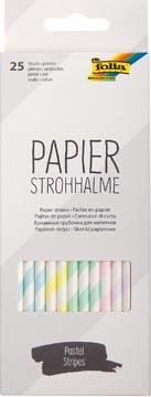 Folia pailles en papier, boîte distributrice de 25 pièces, rayures pastel