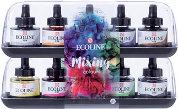 Talens Ecoline peinture à l'eau flacon de 30 ml, set de 10 flacons en couleurs assorties