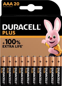 Duracell piles Plus 100%, AAA, blister 20 pièces