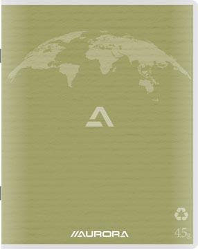 Aurora Writing 60 cahier de brouillon en papier recyclé, 96 pages, ligné, vert mousse