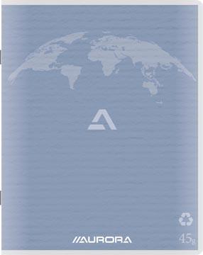 Aurora Writing 60 cahier de brouillon en papier recyclé, 96 pages, quadrillé 5 mm, bleu clair