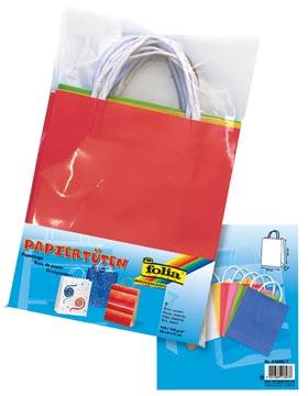 Folia sac papier kraft, 110-125g/m², couleurs assorties, paquet de 7 pièces