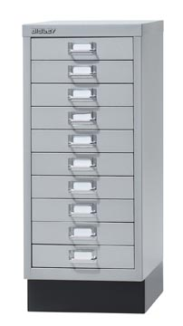 Bisley armoire à tiroirs, ft 67 x 27,9 x 40,8 (h x l x p), 10 tiroirs, argent