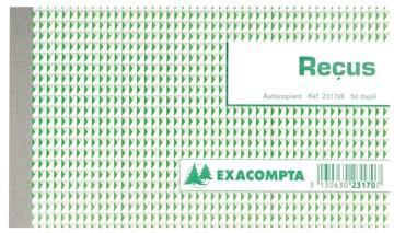 Exacompta reçus, ft 10,5 x 18 cm, français, dupli (2 x 50 feuilles)