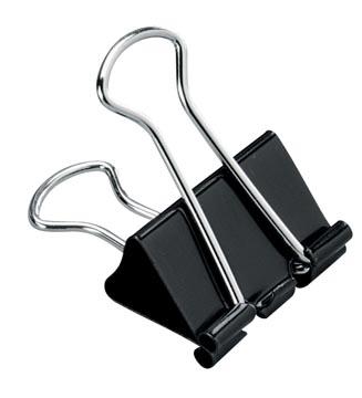STAR clip foldback, 25 mm, noir, boîte de 12 pièces
