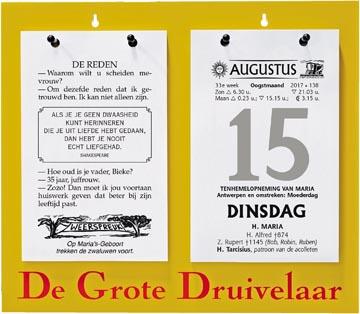 Bloc éphéméride De Grote Druivelaar, ft A4, néerlandais, 2022