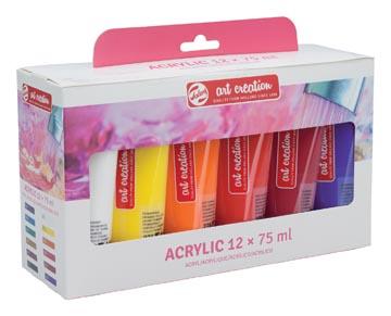 Talens Art Creation peinture acrylique, tube de 75 ml, set de 12 tubes en couleurs assorties