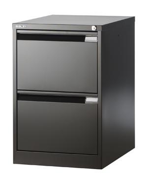 Bisley classeur dossiers, ft 71,1 x 47 x 62,2 cm (h x l x p), 2 tiroirs, noir