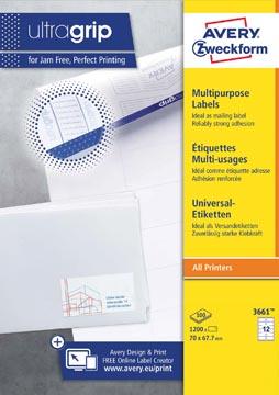 Avery Zweckform 3661, étiquettes universelles, Ultragrip, blanc, 100 feuilles, 70 x 67,7 mm