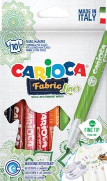 Carioca feutre textile Fabricliner, boîte de 10 pièces en couleurs assorties