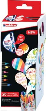 edding Colour Happy box, assortiment de 20 pièces en couleurs assorties