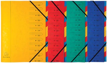 Exacompte Trieur-classeur 12 compartiments, couleurs assorties