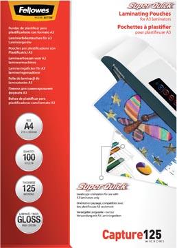 Fellowes pochette à plastifier Capture125 Super Quick, ft A4, 250 microns (2 x 125 microns), paquet de 10