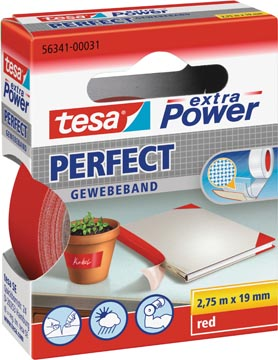 Tesa extra Power Perfect, ft 19 mm x 2,75 m, rouge
