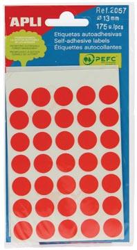 Apli étiquettes rondes en pochette diamètre 13 mm, rouge, 175 pièces, 35 par feuille (2057)