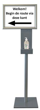 Colonne de désinfection avec cadre à face clipsable, hauteur: 1,5 mètres, ft cadre: A3