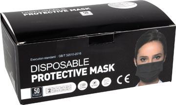 Masque buccal jetable , boîte de 50 pièces, noir