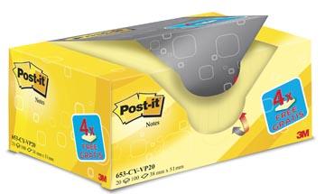 Post-it Notes, ft 38 x 51 mm, jaune, bloc de 100 feuilles, paquet de 16 + 4 gratuit