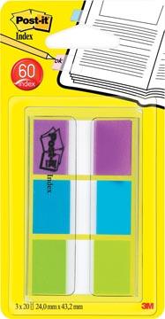 Post-it Index standard, ft 25,4 x 43,2 mm, blister avec 3 couleurs, 20 cavaliers par couleur