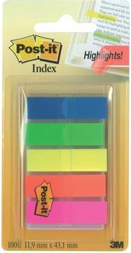 Post-It Index translucide, ft 12 x 43 mm, couleurs assorties, 20 tabs par couleur