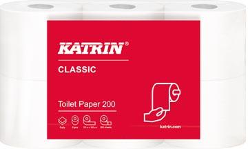 Katrin papier toilette Classic, 2 plis, 200 feuilles par rouleau, paquet de 6 rouleaux