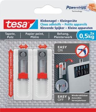 Tesa Clou adhésif petits appareils, supporte 0,5 kg, papier peint et plâtre, blanc, 2 clous, 3 languettes