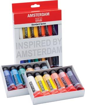 Amsterdam peinture acylique tube de 20 ml, étui de 12 pièces en couleurs assorties