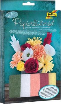 Folia set de bricolage fleurs en papier crepon, 21 parties