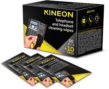 Kineon lingettes pour téléphone et casques, emballées individuellement, boîte de 50 + 10 gratuites