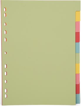 Pergamy intercalaires, ft A4, perforation 11 trous, carton, couleurs assorties pastel, 10 onglets