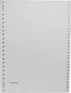 Pergamy intercalaires, ft A4, perforation 23 trous, PP gris, set 1-31