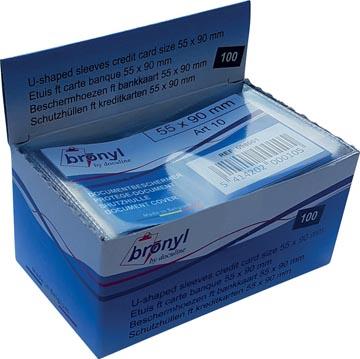 Bronyl étui en U en PVC transparente de 140 microns, ft carte de crédit, présentoir de 100 pièces