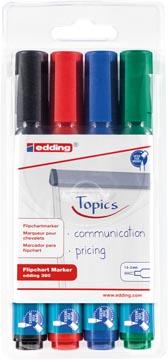 Edding Marqueur pour tableaux de conférence e-380, blister de 4 pièces en couleurs assorties