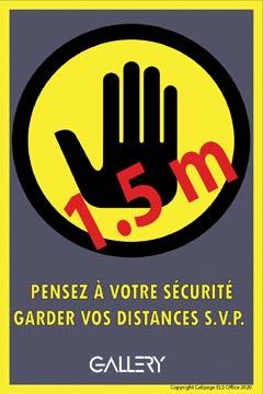 Gallery autocollant, avertissement: gardez 1,5 mètres de distance, ft A5, français