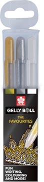 Sakura roller Gelly Roll Mix, étui de 3 pièces (or, argent et blanc)
