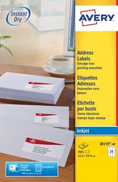 Avery Etiquettes blanches jet d'encre QuickDry boîte de 40 feuilles ft 63,5 x 33,9 mm (l x h), 960 pièces