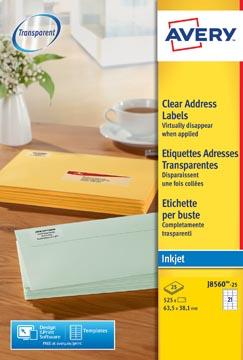 Avery J8560-25 étiquettes adresse ft 63,5 x 38,1 mm (b x h), 525 étiquettes, transparent