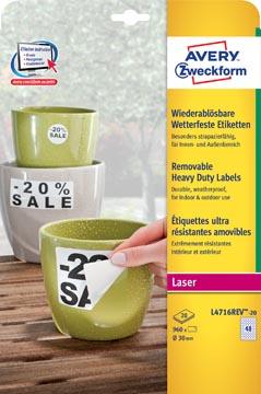 Avery étiquettes enlevables résistantes à l'humidité diamètre 30 mm, blanc, boîte de 960 étiquettes