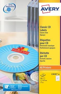 Avery L7676-25 étiquettes pour CD, diamètre 117 mm, 50 étiquettes, blanc