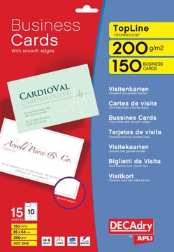 Decadry cartes de visite TopLine, 150 cartes, 10 cartes ft 85 x 54 mm par A4, coins arrondis