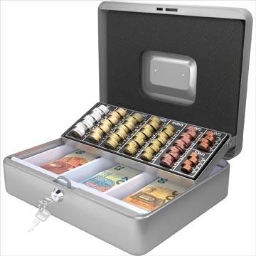 Acropaq coffret à monnaie avec trieur de pièces, ft 30 x 24 x 9 cm, argent