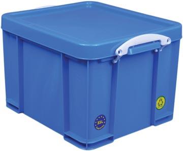 Really Useful Box boîte de rangement 35 l, bleu néon avec poignées blanches